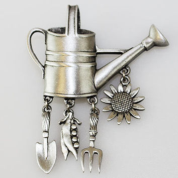 JJ Vintage gardening water can with articulated sunflower, gardening tools pewter brooch pin