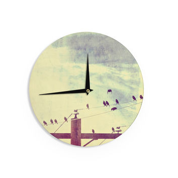 "Sylvia Coomes ""Vintage Birds On A Wire 1"" Brown Vintage Wall Clock"