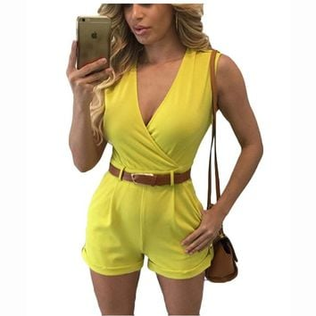 Echoine 2017 Women Jumpsuits Sexy V Neck Sleeveless Packets With Belt Fashion Casual Office Playsuits