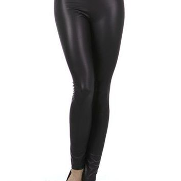Plus Size High Rise Dual Foil Faux Leather Slim Fit Leggings