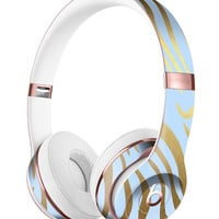 Gold Flaked Animal blue Zebra 2 Full-Body Skin Kit for the Beats by Dre Solo 3 Wireless Headphones