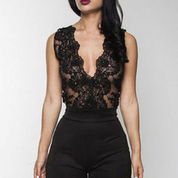 Black Sheer Mesh Sleeveless Plunging V- Neckline Romper