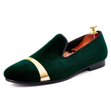 Harpelunde Handmade Men Wedding Shoes Gold Plate Flat Shoes Green Velvet Loafers Size 7-14