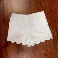 Feelin' Wavy Scalloped Shorts - White