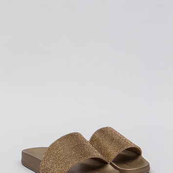 Bling The Heat Jeweled Slide Sandals