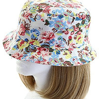 David & Young Women's Floral Print Bucket Hat, Beige, One-Size