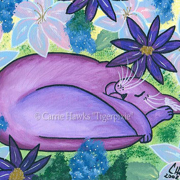 Purple Cat Art Dreaming Cat Nap Painting Sleeping Cat Flowers Fantasy Cat Art Print 8x10 Cat Lovers Art