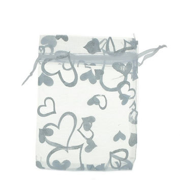 25pcs New Organza White Hearts Charms Wedding Favours/XMAS Gift Bags = 1933021252