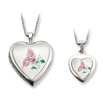 925 Sterling Silver Pink Enamel Butterfly Mother Daughter Necklace Set