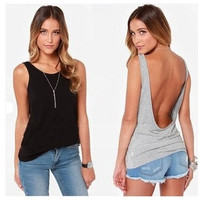 Fashion Women Back Deep V Sexy Backless Vest Tank Sleeveless Slim Tops womens Tshirt = 5617013505