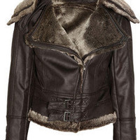 SuperTrash Olammy faux shearling-trimmed jacket - 60% Off Now at THE OUTNET