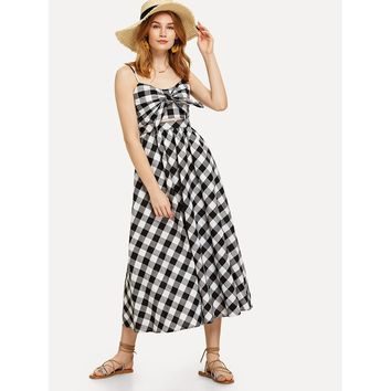 Knot Front Fit & Flared Plaid Cami Dress