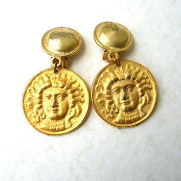 Jewelry Sale Vintage Medusa Earrings, Gold Tone Medusa Jewelry, 80s Earrings, Clip On