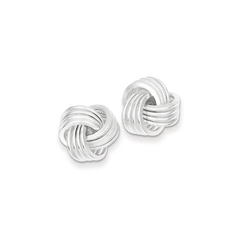 13mm Polished Love Knot Earrings in Sterling Silver