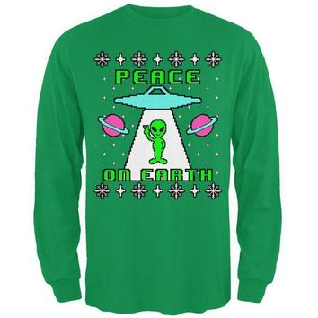 PEAPGQ9 Alien Peace on Earth Ugly Christmas Sweater Mens Long Sleeve T Shirt