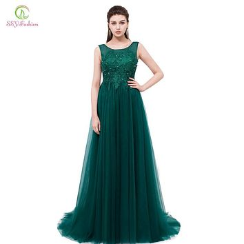 SSYFashion Green Lace Long Evening Dresses the Bride Banquet Elegant Backless Prom Dress Custom Plus Size Sexy Party Formal Gown