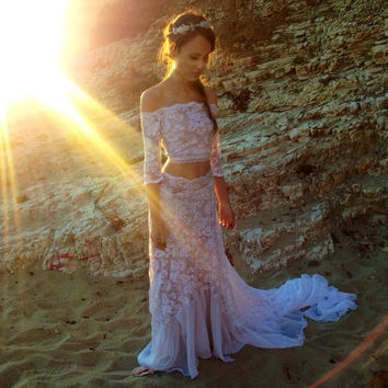 Romantic Bohemian Wedding Dress in French Lace with Off-the-Shoulder Crop Top, Keyhole Tie Back, and Cascading Chiffon Train