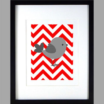 Gray Bird on Red Chevron Print , Baby Nursery Art, CUSTOMIZE YOUR COLORS, 8x10 Prints, nursery decor nursery print art baby room decor