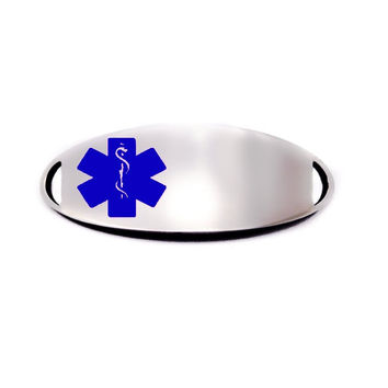 Engraved Stainless Steel Oval Medical Bracelet ID Tag - Blue
