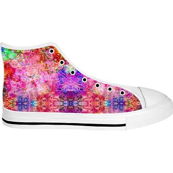 Neon Fractal Storm 2 White High Tops