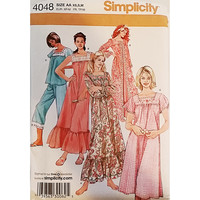 Misses Nightgown Pajamas Robe Simplicity 4048 Sewing Pattern Size XS S M c1629