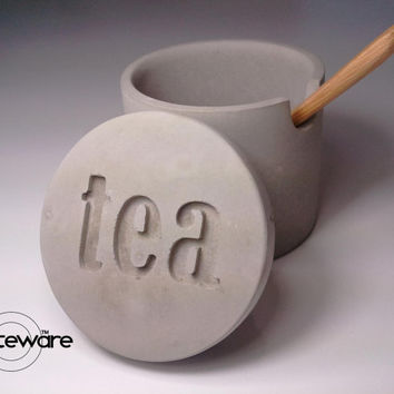 """small concrete tea cellar jar notched for bamboo spoon rest with etched """"tea"""" lid - Kreteware Concrete"""