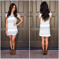 Got It All Stripe Dress in Grey