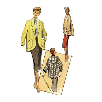 1950s WOMENS COAT PATTERN Swing Coat Patterns Cuffed Sleeves Shaped Pockets 50s Jacket Bust 38 McCalls 8431 Plus Size Womens Sewing Patterns