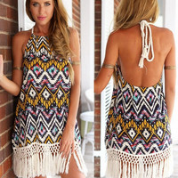 'The Lacy' Vintage Geometric Pattern Backless Tassel Mini Dress