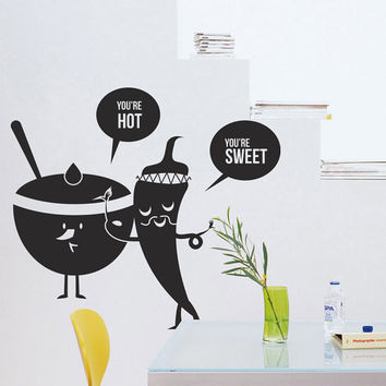 I163 Wall Decal Vinyl Sticker Art Decor Design kitchen fruit vegetables sweet spicy hot food funny cartoon