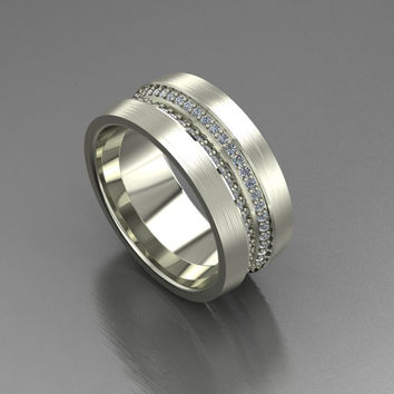 "Men's wedding band ""Double Barrel"" 0.80 ctw"