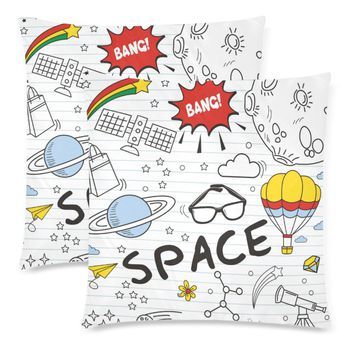 """Space Throw Pillow Covers 18""""x 18"""" (Set of 2)"""