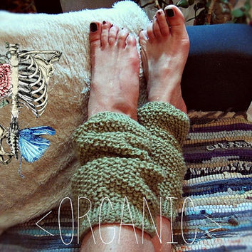 Organic Wool Leg Warmers -  Boho Leg Warmers - Made to Order - Rustic Clothing - Hippie Bohemian