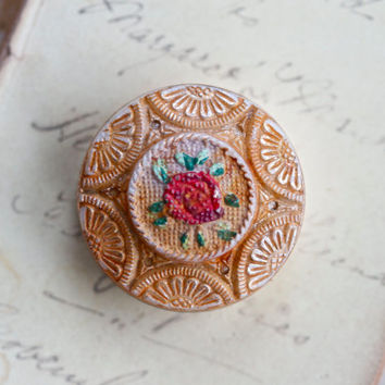 Vintage Pill Box - Whimsical Red Flower on Salmon