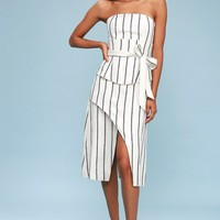 Diffuse Blue and Ivory Striped Wrap Strapless Midi Dress