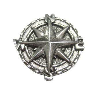 Silver Toned Textured Nautical Compass Magnet