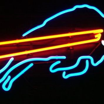 Business Custom NEON SIGN board For Football LED Buffalo Bills REAL GLASS Tube BEER BAR PUB Club Shop Light Signs 14*10""