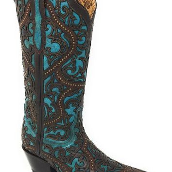 ICIKAB3 Corral Brown & Turquoise Leather Overlay Snip Toe Boots G1415