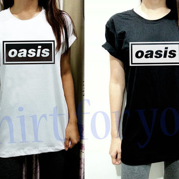 Oasis Shirt Logo Band Thin Cotton Unisex White Black Men Women Short Sleeve Shirt Tshirt Tee S M L XL XXL