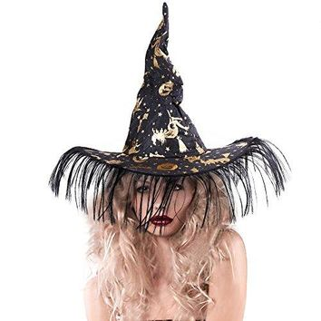 Unisex Halloween Costume Pumpkin Printed Witch Hat, Black & Gold