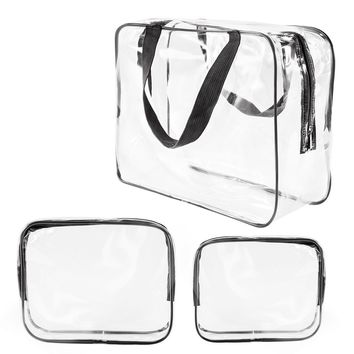 3Pcs Crystal Clear PVC Travel Bag Kit for Men Women, Waterproof Vinyl Packing Organizer Storage Bag with Zipper Closure and Handle Straps, Cosmetic Pouch, Diaper Bag, Handbag Pencil Bag Black (Black)