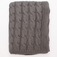 Grey Big Cable Knit Throw