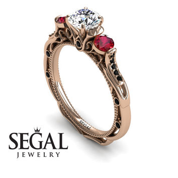 Unique Engagement Ring 14K Red Gold Art Deco Victorian Ring Edwardian Ring White diamond With Ruby - Elizabeth