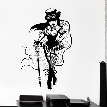 Vinyl Wall Decal Steampunk Girl Woman Fantasy Decor Stickers Murals Unique Gift (ig4746)