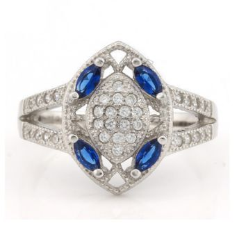 Solid .925 Sterling Silver, 0.75ctw Genuine Blue & White Sapphire Vintage Style Ring