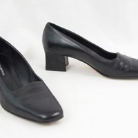 Sesto Meucci Black Leather Slip On Heels 8.5 M Made in Italy