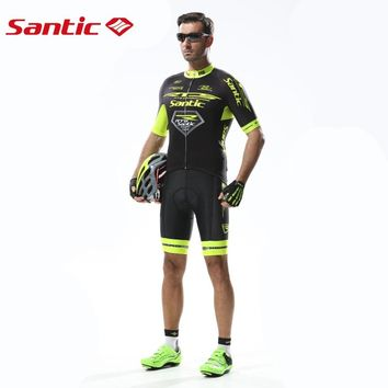 Santic Pro fit RTS White&Green Champion Cycling Team Sets Men Bike MTB Cycling Jersey+Bib Shorts with Italy Padded M5CT053W/52V