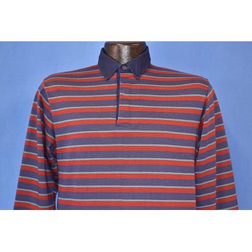 80s Levis Blue Maroon Green Striped Polo Shirt Small