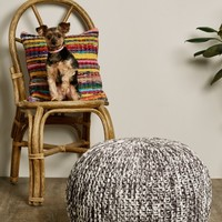 **Grey and White Knit Floor Pouf**