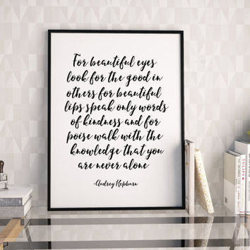AUDREY HEPBURN QUOTE,Printable Art,Inspirational Quote,Girls Room Decor,Girls Bedroom Decor,Gift For Her,Quote Print,Quote Art,Friends Gift